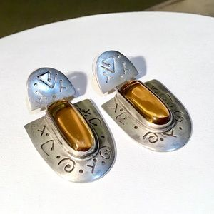 🌺Stunning Large Sterling and Citrine Earrings